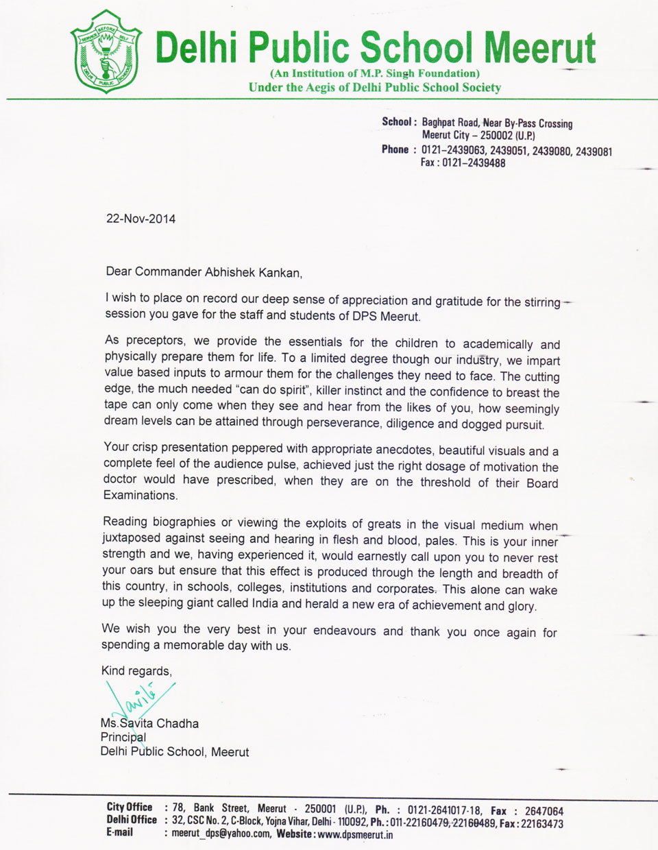Letter by DPS Meerut Principal on Igniting the Achiever Within Program